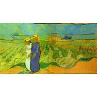 El boyalı Vincent Van Gogh yağlıboya tablolar Alanları modern sanat Manzara duvar dekor geçerken İki Kadın tuval