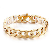 15MM Wide Boys Mens Gold Color Curb Cuban Chain Link Bracele...