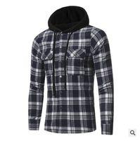 Cross Border Cargo 2017 Новые Фланелевые Латте Двойные Карманные Кепки Повседневная Мужская Рубашка Стиль с длинными рукавами