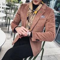 Fatos masculinos blazers 2021 outono inverno homens moda negócio casual slim cor sólida lã lã de estilo ocidental terno terno longo manga de manga longa blazer coa