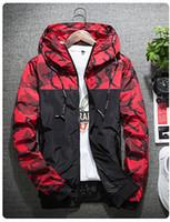 Herbst Camouflage-Jacken Herren-Mode-Druck mit Kapuze Bomber Mantel Slim Fit Männer Windjacke Lässige Kleidung Oberbekleidung M-2XL