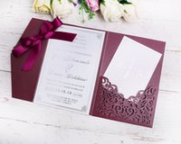 2019 New 3 Folds Wedding Burgundy Invitations Cards With Bur...