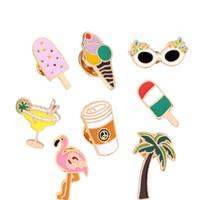 Kokospalme Flamingo Metall Broschen Eis Metallnadeln Beach Style Broschen süßes Design Modeschmuck Accessoires