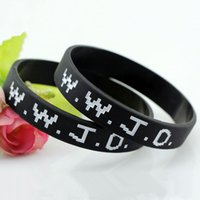 WWJD Letter Wristband Silicone Bracelet Bangle What Would Jesus Do Christian Bible Rubber Debossed Cuff Wrist Bands Bracelet Jewelry Gifts