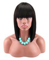 Perruques courtes en dentelle avec frange de cheveux vierges brésiliens de lacets de dentelle de lace de dentelle humaine pour femmes noires femmes swiss dentelle perruques frontales gali cheveux