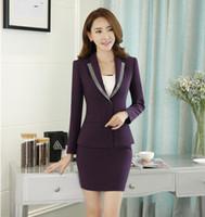 Novedad morado Slim Fashion Professiona Blazers formales para mujeres de negocios  Trajes de falda Chaquetas y 906f84472b34
