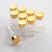 27 * 50mm 24pcs 15ml bottiglie di vetro in alluminio Vite Golden Cap vuoti trasparente neutro liquido regalo container Vasi che desidera bottiglia