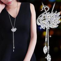 Collar de cristal largo, Auniquestyle Lady Elegant Rhinestone Swan colgante collar de mujer suéter cadena moda joyería creativa
