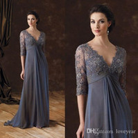 2020 Chiffon Lace Mother Of The Bride Dresses V- Neck Half Sl...
