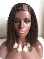 Yüksek kaliteli Moğol Virgin İnsan Saç afro kinky kıvırcık 4a 4b 4c saç dantel ön peruk tam dantel peruk U kısmı peruk