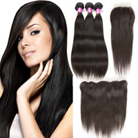 10A Brazilian Straight Human Hair Weaves with Top Lace Closu...