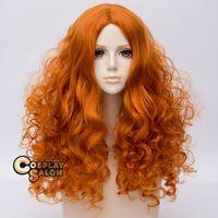 70см Лолита Пушистый Оранжевый волос Длинные вьющиеся Anime Женщины Cosplay парик теплостойкость