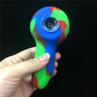 5 Inch Red Green Blue Silicone Hand Pipes Silicone Bong Bubb...