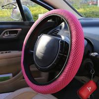 Capa de Volante Artesanal de Tecido de sanduíche Respirabilidade Antiderrapante Universal Adapta-se A Maioria Dos Estilo Do Carro Volante