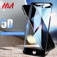 H&A 5D Full Cover Tempered Glass For  7 6 6s X 8 Plus Curved Screen Protector For  X 8 7 Plus Protective Glass Film