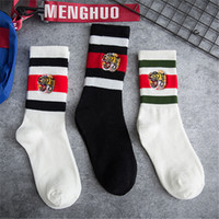 2019 Designer Socks Embroidery Tiger Head Stripes Off Black ...