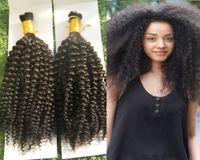 Mongoliano allentato Afro Kinky Curly Crochet Crochet Trecce Micro intrecciatura 200g Capelli intrecciatura Bulk Bulk Capelli allentati 2pcs Human Treiding Hair Bulk