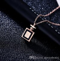 Creative Number 5 Perfume Bottle Pendant Necklace 18K Rose G...
