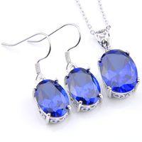 LuckyShine 5 insiemi gli orecchini di cristallo di ellisse di cristallo di zircon di zircon di cristallo e le serie d'argento di modo delle donne della collana 925 della catena del pendente LIBERA IL TRASPORTO!