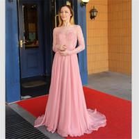 Розовый шифон линии платья выпускного вечера 2018 Очаровательные длинные рукава жемчужные бусы вечерние платья на заказ развертки поезд vestidos de fiesta