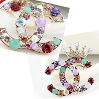 New Vouge Colorful Crystal Rhinestone Brooch Pins Crown Lett...