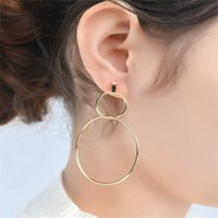 New European Big Hoops Double Circle Earrings For Women Girl...