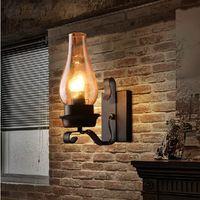 Rétro Rustique Nordic Glass Applique Chambre Chevet Applique Murale Vintage Industriel Appliques Chambre Allée Escalier Lampes