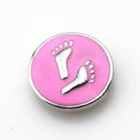 10 unids / lote esmalte rosa huella botones a presión para 18mm Lock Snaps BraceletBangles DIY Snap colgantes encantos de la joyería