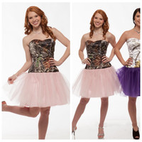 2018 Cheap Brown Real Tree Camo Prom Dress Short Pink Tulle Shirt Custom Formal Special Occasion Party Gowns Cheap Camouflage
