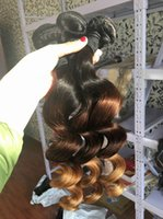Venta al por mayor 3 paquetes de onda suelta cruda india virgen Ombre tejido en tres tonos raíces oscuras marrón rubio suelto rizado extensiones de cabello humano