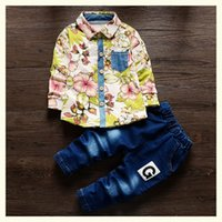 2018 hot boys spring clothes sets children fashion flower t-...