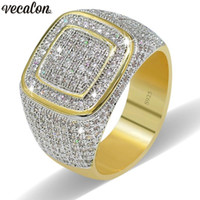 Vecalon Luxury Big Hiphop Rock rings for men Pave setting 27...