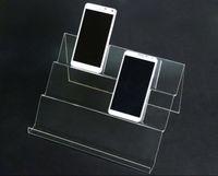 5pcs scaffale lungo acrilico Mobile Cell Phone display stand prodotti digitali borsa supporto cosmetico universale Mobile Phones display rack