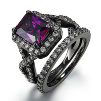 2- in- 1 Retro 14K Black Gold Plated Created Amethyst Infinity...