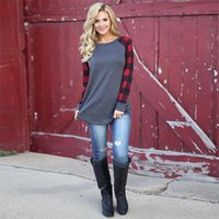 5XL Plus Size Women Plaid Panel Raglan T- shirts Large Size L...