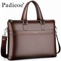 Padieoe Haute Qualité 15 Pouce Ordinateur Portable Sac De Mode Hommes Bureau Documents Sac À Bandoulière Split En Cuir Hommes Porte-Documents Casual Portfolio