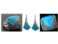 송료 무료 Vintage Blue Stone 925 스털링 실버 Marcasite Ring (# 7-10) 펜던트와 귀걸이 세트 02