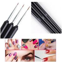 3pcs Set Nail Art Liner Brushes Set Drawing Painting UV Gel Pen 3D Tips DIY Flower Line Design Pen Manicure Nail Art Tool
