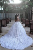 Dit la cathédrale Mhamad Train de luxe robes de mariée robes de ballon arabe Dubaï Vestido de Novia avec perles 3D Fleurs Floral Robes de mariée