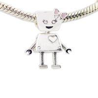 2018 Printemps Nouveau 925 En Argent Sterling Bella Charme De Robot Rose Émail Perle Adapte Pandora Bracelet DIY pour Femmes Bijoux Accessoires