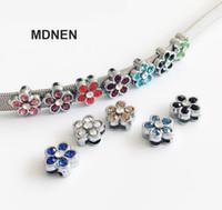20pcs accesorio de bricolaje 8 mm de diámetro interno. 12 MM * 12 MM Rhinestone Flor Slide Charms Beads DIY 8 MM Collar del gato del perro pulsera