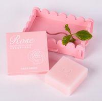 oben Feuchtigkeitsspendende handgemachte Seife Großhandel Rose ätherische Seifen OEM Verarbeitung helle weiße feuchtigkeitsspendende Reinigungsseife A379