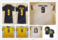 2a0fcbcb9 NCAA Michigan Wolverines  9 Peoples-Jones 13 Eddie McDoom 88 Grant Perry  White Yellow Navy Blue College Football Jerseys