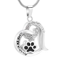 Wholesale Cute Paw Print Forever Love Heart Pendant Necklace...