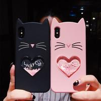 Glitter star coração amor quicksand líquido sorte cat silicone case capa traseira para iphone 6 6s 7 8 além disso x