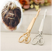 Fashion Woman Hair Accessories Metal Small scissors hairpin ...