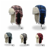 Winter fur Lei Feng hat plaid earmuffs caps ear protection c...