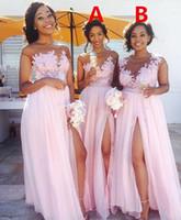 컨트리 블러쉬 핑크 들러리 드레스 섹시한 쥬얼 넥 레이스 아플리케 명예 복장의 하녀 나누기 정식 이브닝 가운 웨딩 게스트 착용