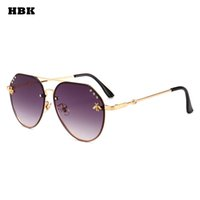HBK Pilot Oversized Diamond Bees Fashion Occhiali da sole UV400 Ocean Lens Plastic Trendy Pink Purple Black Exquisite Occhiali da sole De