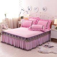 1 / 3Pcs 100% Coon Lace König / Königin / Full Size Bett Rock Luxus Pink / Blue Princess Bettdecke Bettlaken Kissenbezug Home Decorative